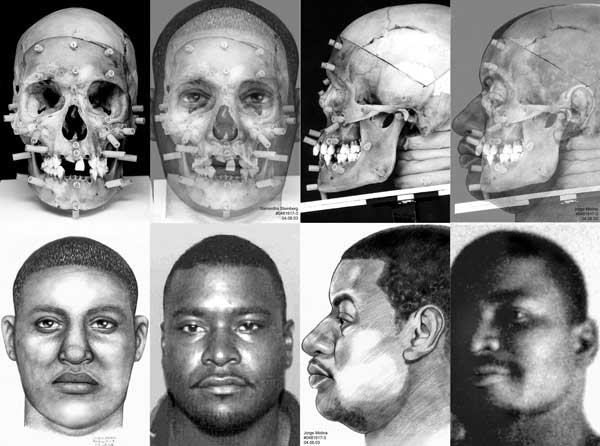 Eight part image showing two male subjects photos, forensic sketches, skulls with markers, and composites of skull overlayed with the sketch